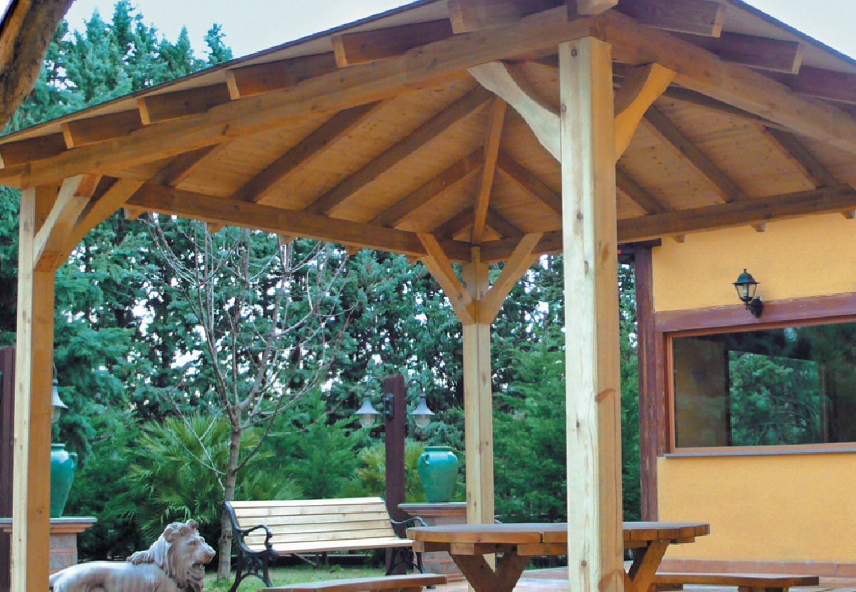 Gazebo In Rattan Sintetico.Gazebo In Legno Essex Pinetarreda